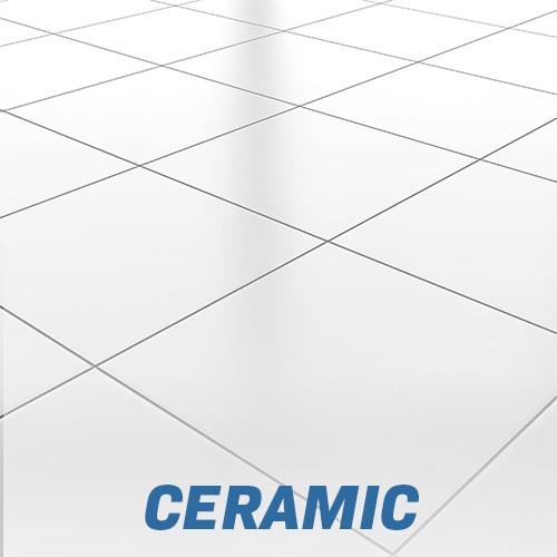 White glossy ceramic tile floor